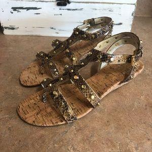 Michael Kors Embossed Leather Brown Jolie Sandals